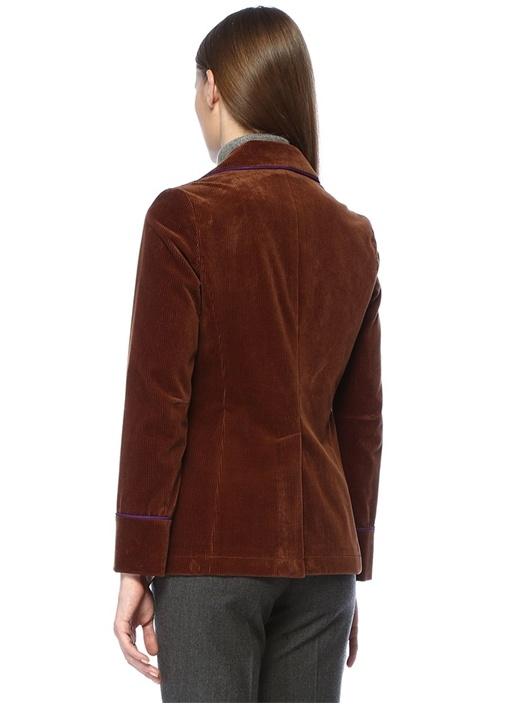 Kahverengi Kırlangıç Yaka Şeritli Kadife Ceket