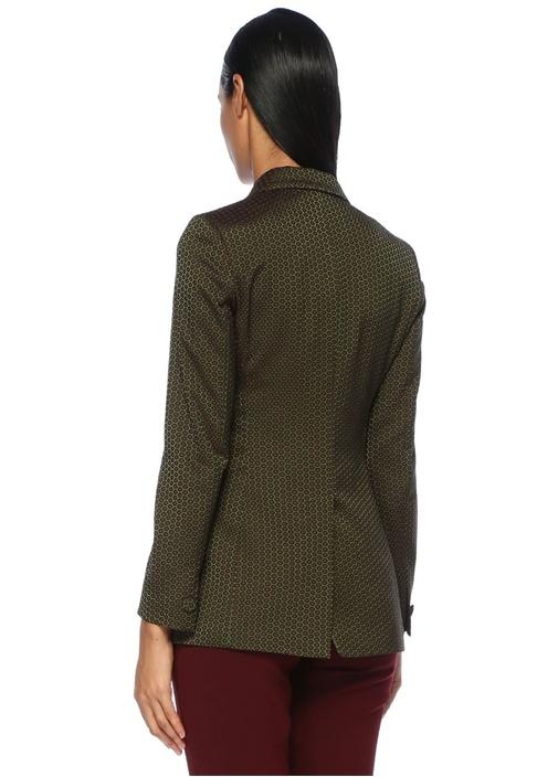 Yeşil Mikro Desenli Kırlangıç Yaka Kruvaze Ceket