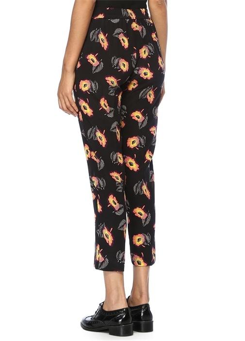 Siyah Çiçekli Yüksek Bel Crop İpek Pantolon