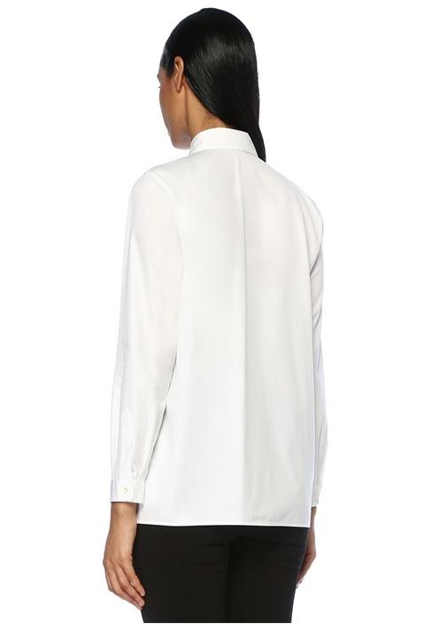 Beyaz Şal Desen Nakışlı Gömlek