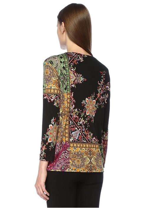 Siyah Şal Desenli Uzun Kollu İpek Bluz