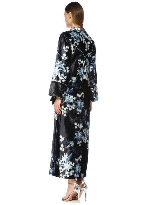 New Sunrise Lacivert Broşlu Kadife Kimono Elbise