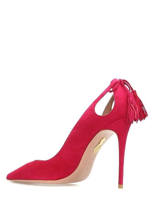Forever Pembe Püskül Detaylı Süet Topuklu Ayakkabı