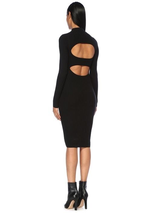 Siyah Dik Yaka Sırt Dekolteli Midi Triko Elbise