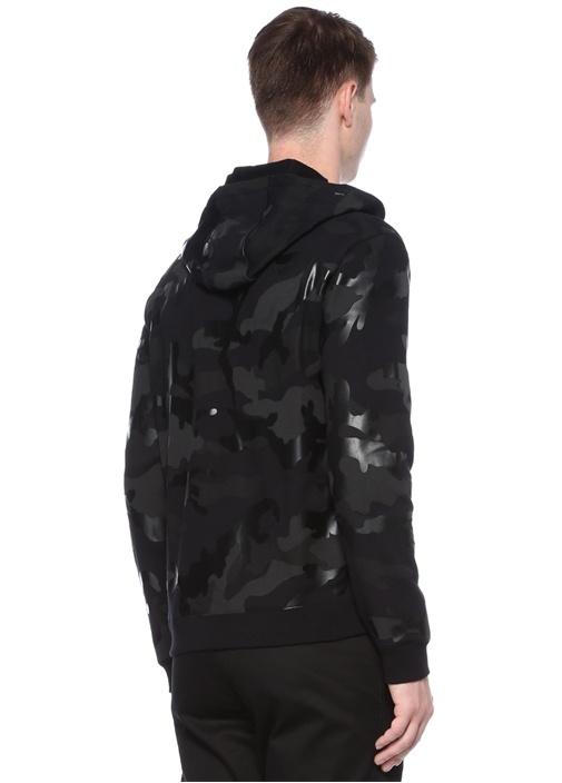 Siyah Kamuflaj Desenli Kapüşonlu Sweatshirt