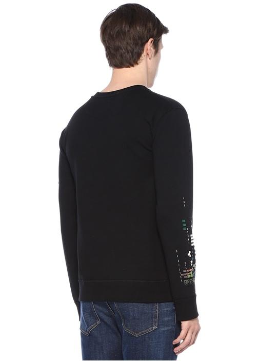 Siyah Nakışlı Boncuk İşlemeli Sweatshirt