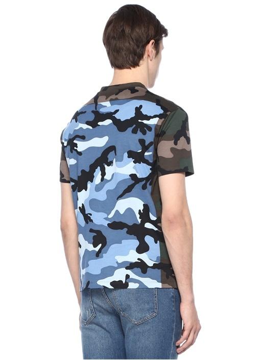 Haki Mavi Bisiklet Yaka Kamuflajlı Basic T-shirt