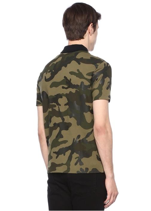 Haki Polo Yaka Kamuflaj Desenli Troklu T-shirt