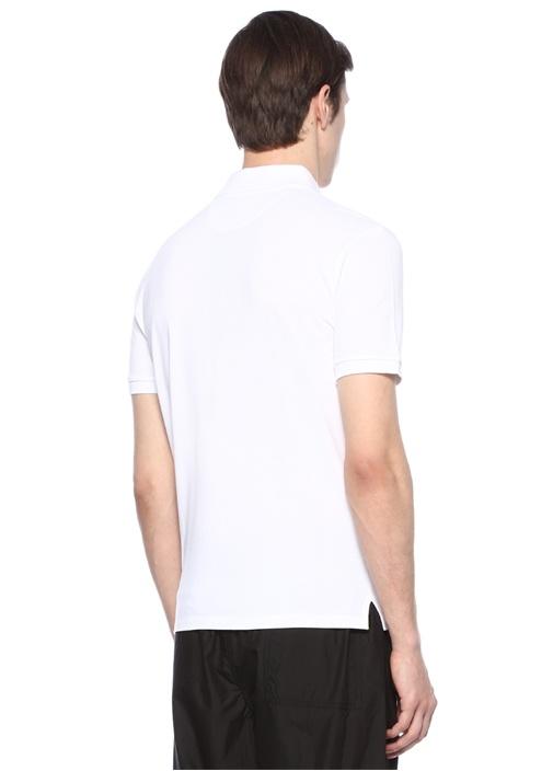 Beyaz Polo Yaka Dokulu Logo Baskılı T-shirt