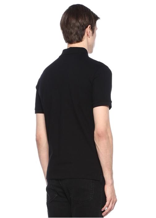 Siyah Polo Yaka Logo Baskılı T-shirt