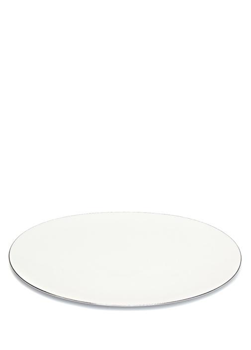 Beyaz Silver Detaylı Porselen Servis Tabağı