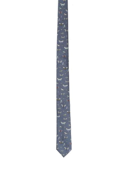 Valentino Garavani Mavi Baskılı Erkek ipek Kravat