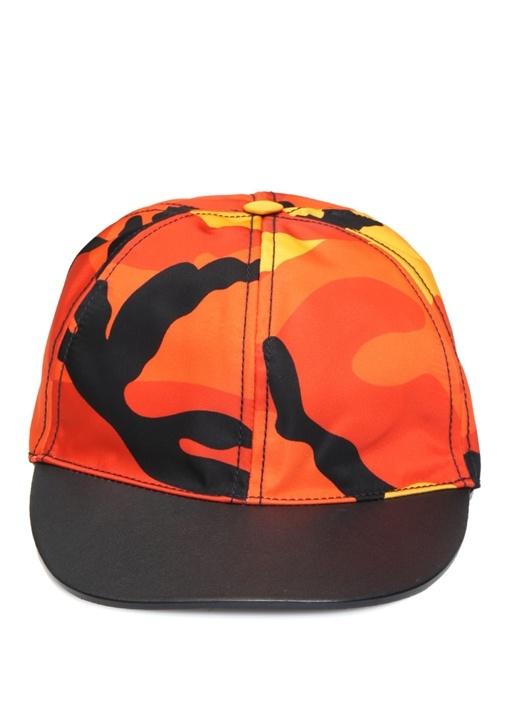 Turuncu Kamuflaj Desenli Erkek Şapka