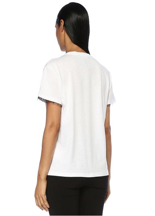 Beyaz Yazı Baskılı Puanlı Tül Detaylı T-shirt