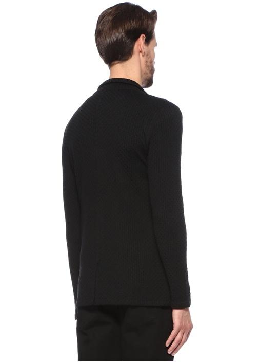 Siyah Şal Yaka Dokulu Yün Triko Ceket
