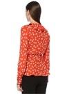 Silvery Kırmızı Anvelop Yaka Çiçekli Fırfırlı Bluz