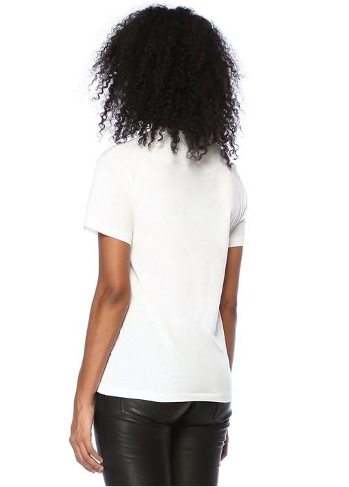 Harway Beyaz Bisiklet Yaka Yazı BaskılıT--shirt