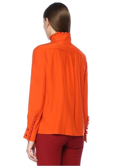Turuncu Fırfır Detaylı İpek Gömlek