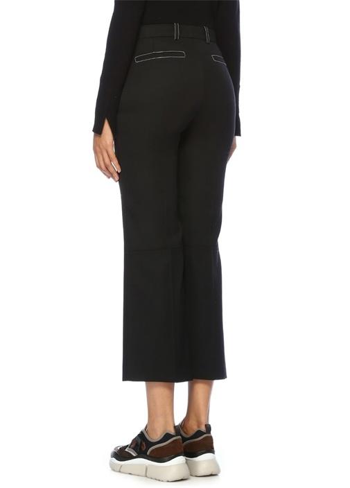 Siyah Normal Bel Bol Paça Crop Yün Pantolon