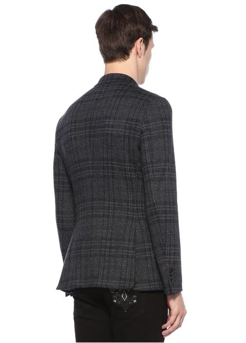 Kahverengi Kırlangıç Yaka Ekoseli Jersey Ceket