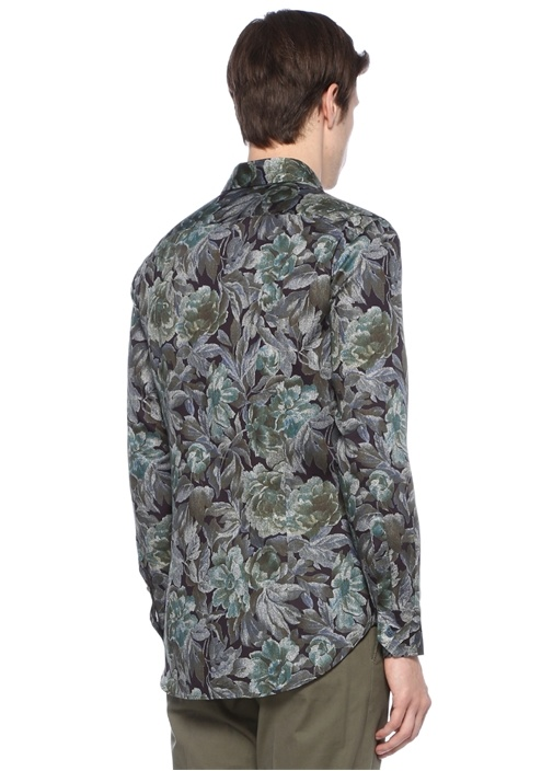Lacivert Haki İngiliz Yaka Çiçek Desenli Gömlek