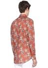 Turuncu İngiliz Yaka Çiçek Desenli Gömlek