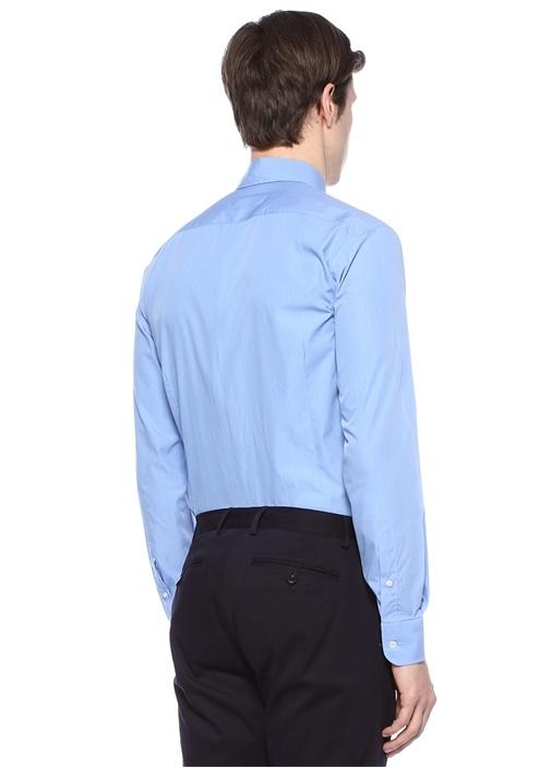 Mavi Yakası Düğme Kapatmalı Logolu Gömlek