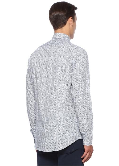Mavi Yakası Düğmeli Etnik Desenli Gömlek