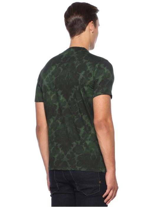 Yeşil Batik Baskılı Basic T-shirt