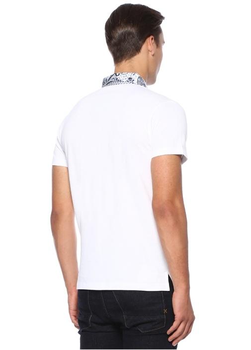 Beyaz Polo Yaka Etnik Desen Detaylı Dokulu T-shirt