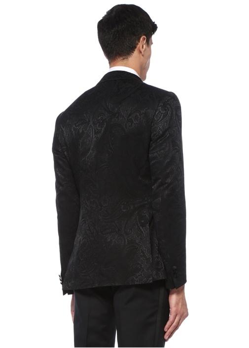 Siyah Kırlangıç Yaka Etnik Desen Işlemeli Ceket