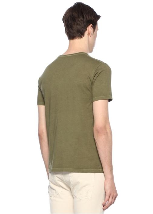 Yeşil Bisiklet Yaka Baskılı Taş İşlemeli T-shirt