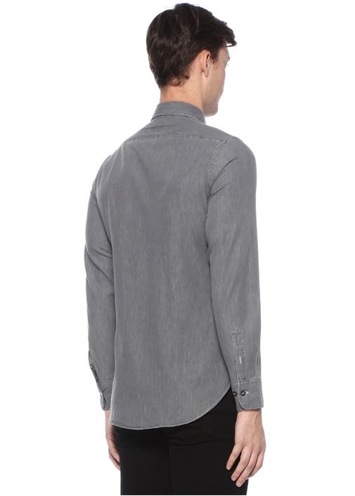 Antrasit Kesik Yaka Gömlek