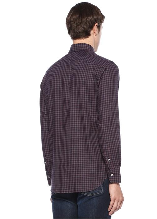 Modern Fit Lacivert Yakası Düğmeli Ekoseli Gömlek