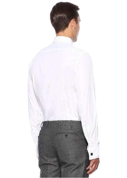 Slim Fit Beyaz Modern Yaka Gömlek