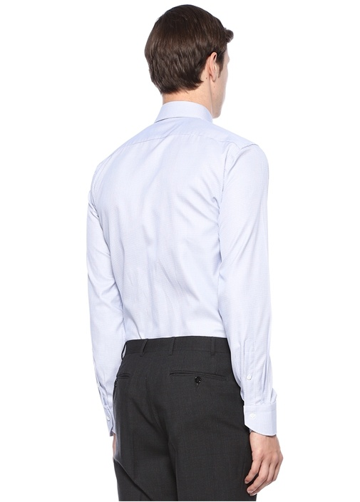 Modern Fit Mavi Modern Yaka Desenli Gömlek