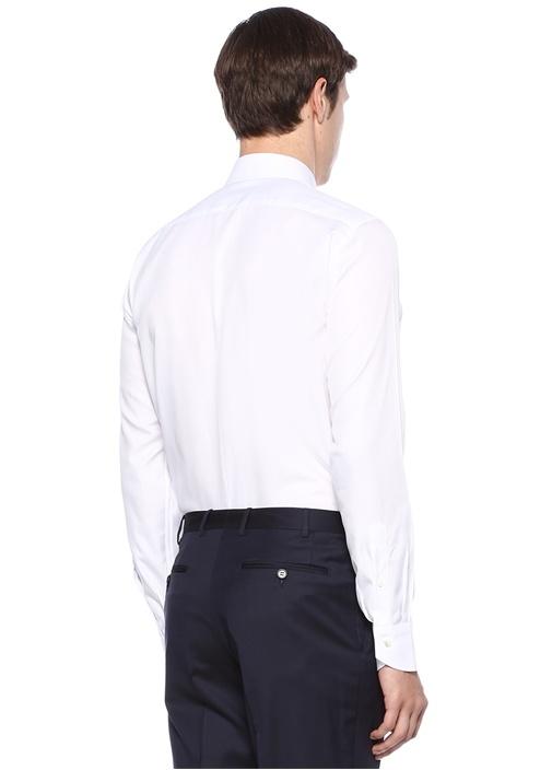 Modern Fit Beyaz İngiliz Yaka Gömlek