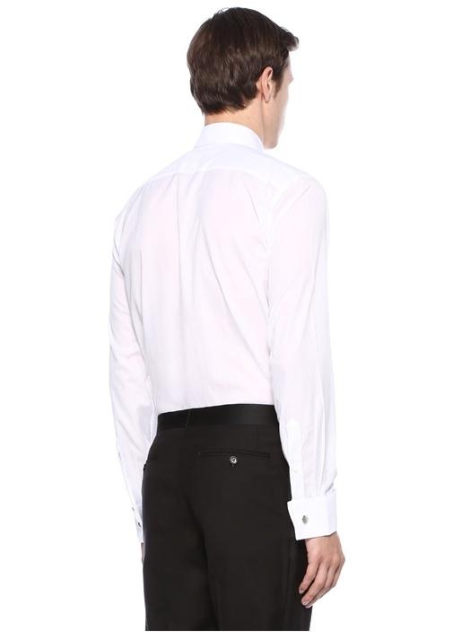 Beyaz İngiliz Yaka Nervürlü Smokin Gömleği
