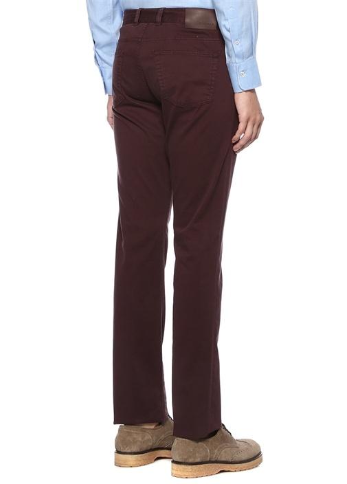 Bordo Normal Bel Boru Paça Dokulu Yün Pantolon
