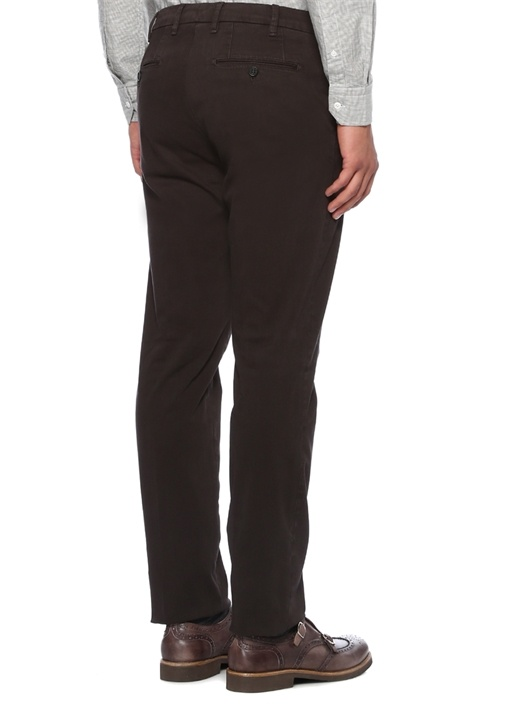 Kahverengi Normal Bel Dokulu Boru Paça Pantolon