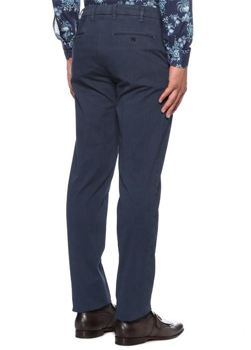 Lacivert Normal Bel Boru Paça Dokulu Pantolon