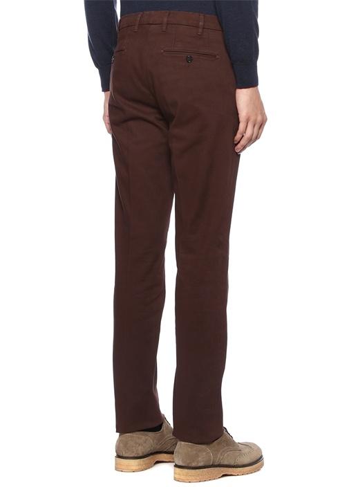 Kahverengi Normal Bel Boru Paça Dokulu Pantolon
