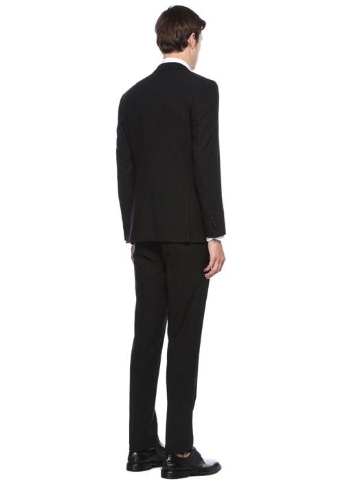 Drop 8 Antrasit Çizgili Yelekli Yün Takım Elbise