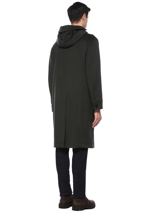 Yeşil Kapüşonlu Yün Palto