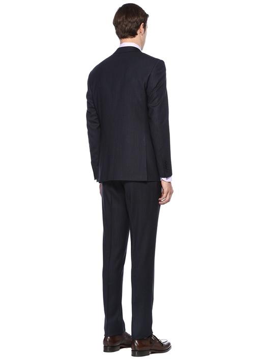 Lacivert Dokulu Yün Takım Elbise