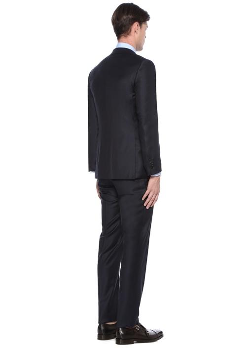 Drop 8 Lacivert Kareli Yelekli Yün Takım Elbise