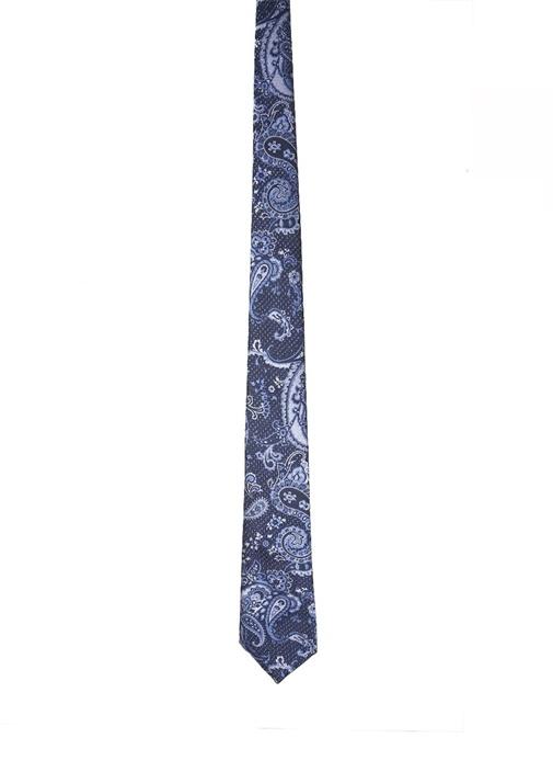 Antrasit Mor Şal Desenli İpek Kravat