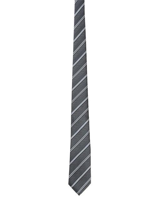 Antrasit Çizgili İpek Kravat