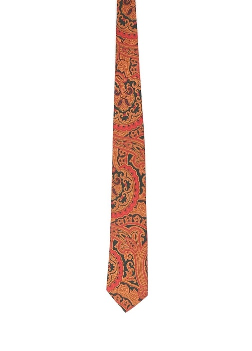 Siyah Turuncu Şal Desenli İpek Kravat