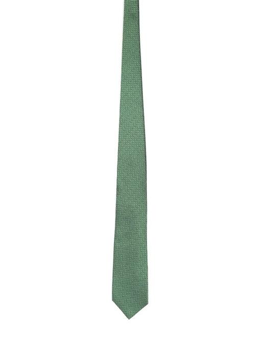 Yeşil Siyah Mikro Desenli İpek Kravat